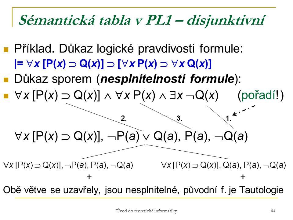 Úvod do teoretické informatiky 44 Sémantická tabla v PL1 – disjunktivní Příklad. Důkaz logické pravdivosti formule: |=  x [P(x)  Q(x)]  [  x P(x)