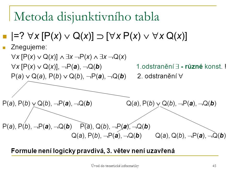 Úvod do teoretické informatiky 45 Metoda disjunktivního tabla |=?  x [P(x)  Q(x)]  [  x P(x)   x Q(x)] Znegujeme:  x [P(x)  Q(x)]   x  P(x)