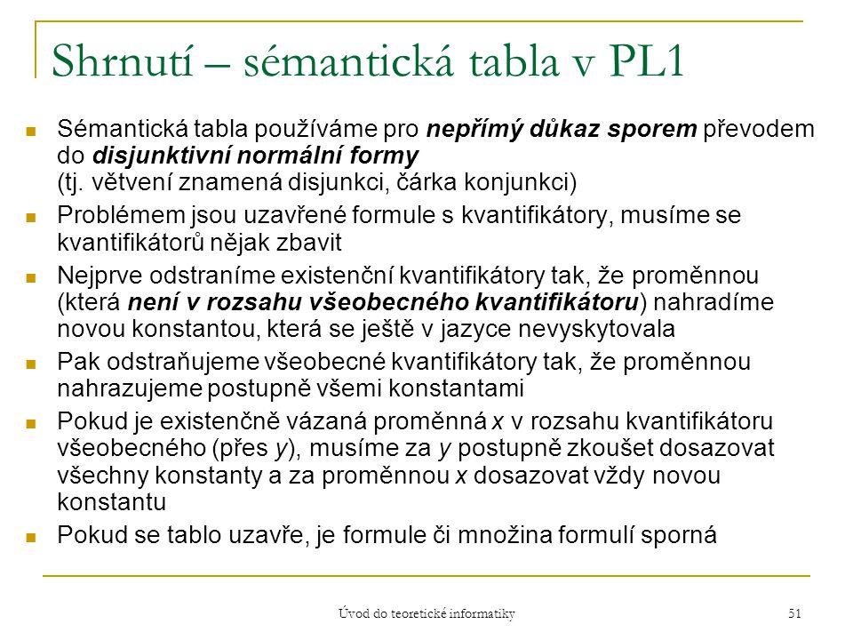 Úvod do teoretické informatiky 51 Shrnutí – sémantická tabla v PL1 Sémantická tabla používáme pro nepřímý důkaz sporem převodem do disjunktivní normál