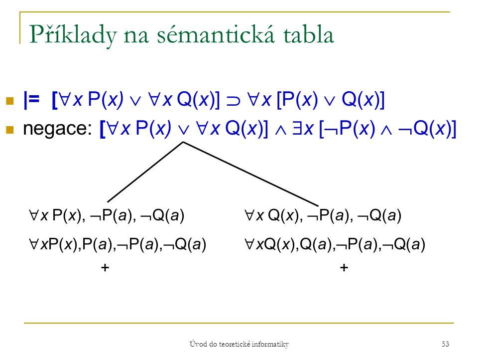 Úvod do teoretické informatiky 53 Příklady na sémantická tabla |= [  x P(x)   x Q(x)]   x [P(x)  Q(x)] negace: [  x P(x)   x Q(x)]   x [ 