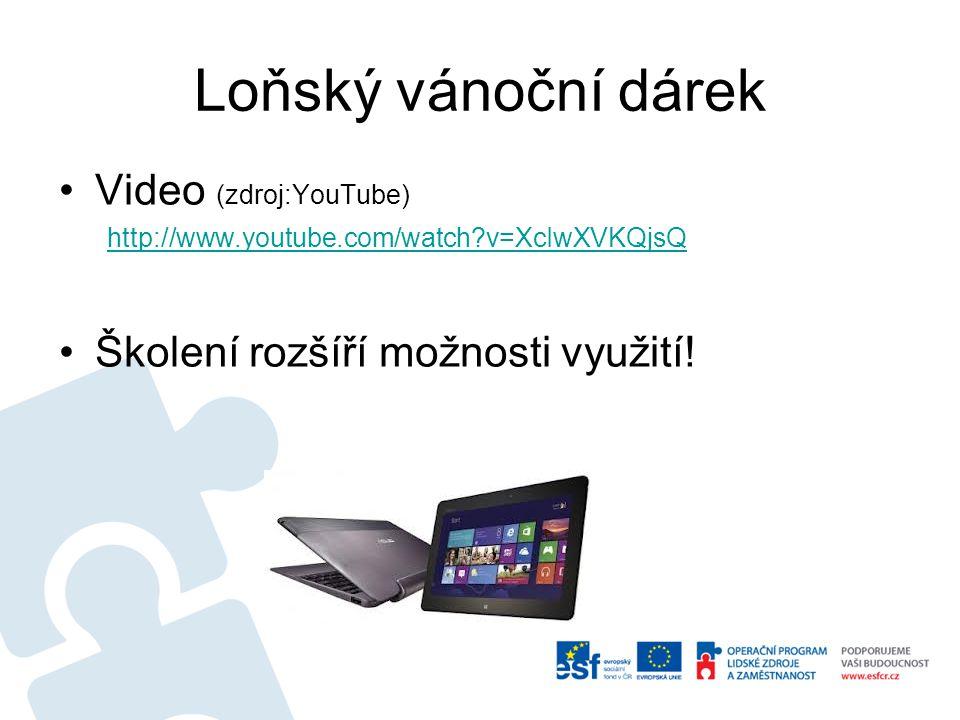 Loňský vánoční dárek Video (zdroj:YouTube) http://www.youtube.com/watch v=XcIwXVKQjsQ Školení rozšíří možnosti využití!