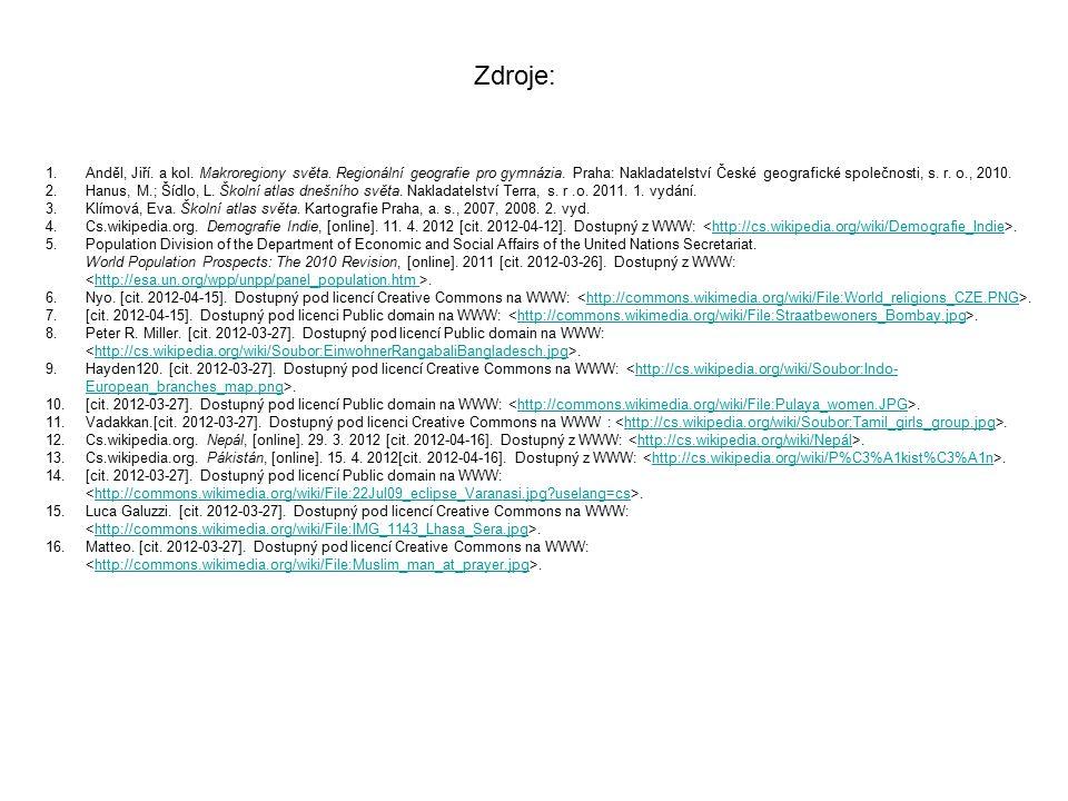 1.Anděl, Jiří. a kol. Makroregiony světa. Regionální geografie pro gymnázia. Praha: Nakladatelství České geografické společnosti, s. r. o., 2010. 2.Ha