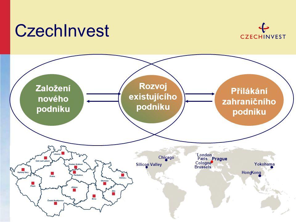 CzechInvest Založení nového podniku Rozvoj existujícího podniku Přilákání zahraničního podniku Chicago Silicon Valley Brussels London Cologne Paris Prague Yokohama HongKong