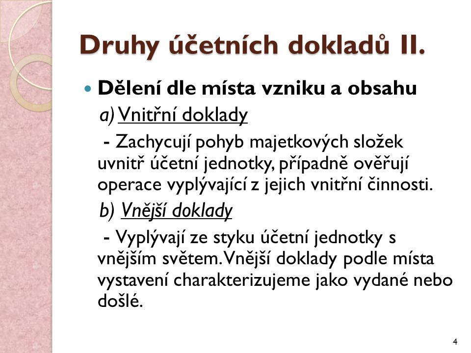 Druhy účetních dokladů III.