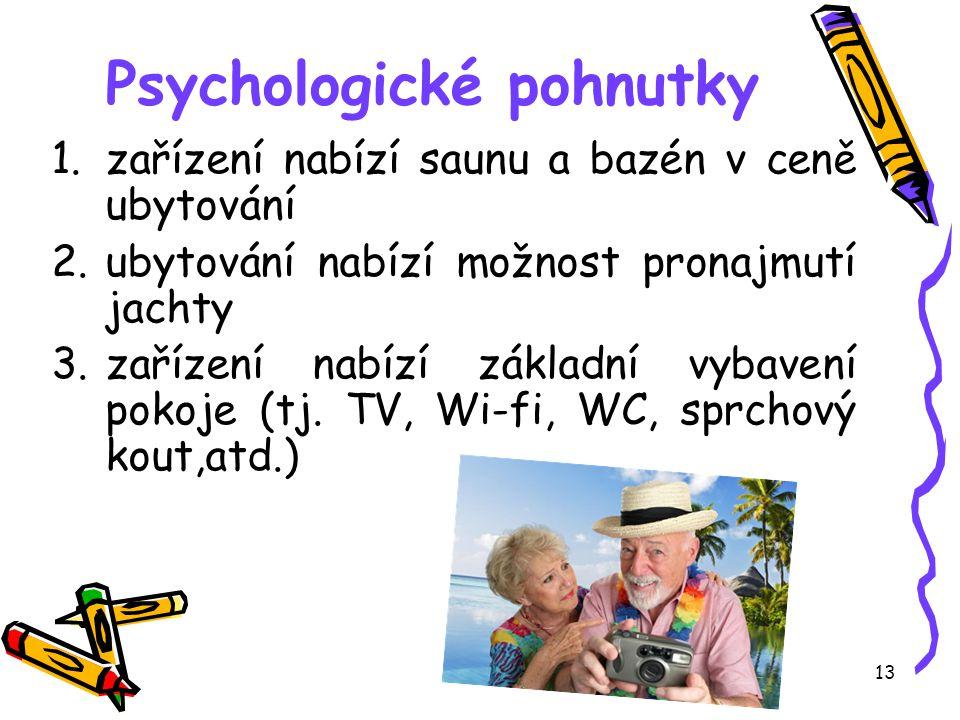 12 Psychologické pohnutky vlastní zážitky, vědomosti a zkušenosti, které nás motivují k účasti na CR Příklad: Klient hledá vhodné ubytování v jedné de