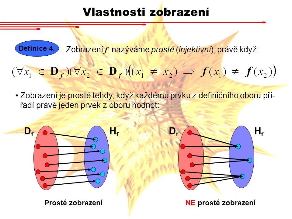 Vlastnosti zobrazení Definice 4. Zobrazení f nazýváme prosté (injektivní), právě když: DfDf Zobrazení je prosté tehdy, když každému prvku z definičníh