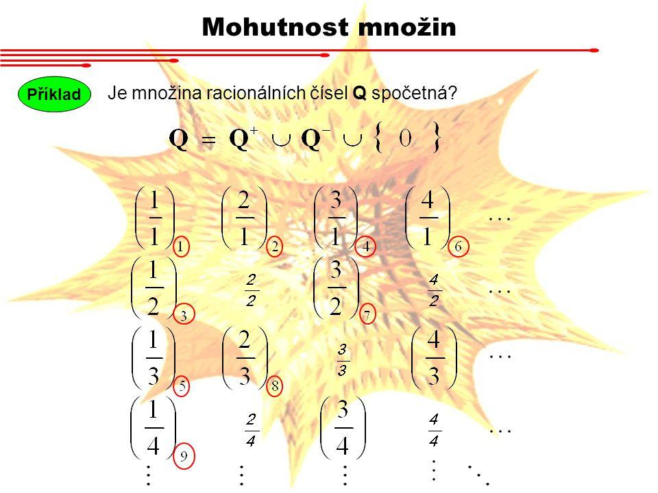 Mohutnost množin Příklad Je množina racionálních čísel Q spočetná?