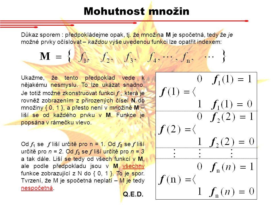 Mohutnost množin Důkaz sporem : předpokládejme opak, tj. že množina M je spočetná, tedy že je možné prvky očíslovat – každou výše uvedenou funkci lze
