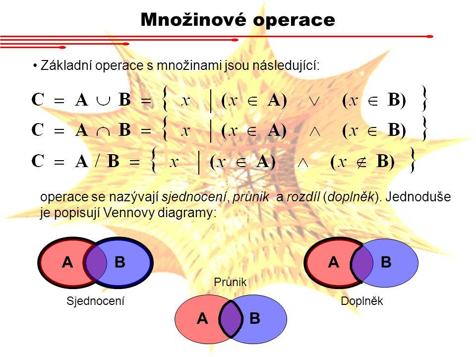 Množinové operace Další důležitá množinová operace je Kartézský součin: Definice 2.