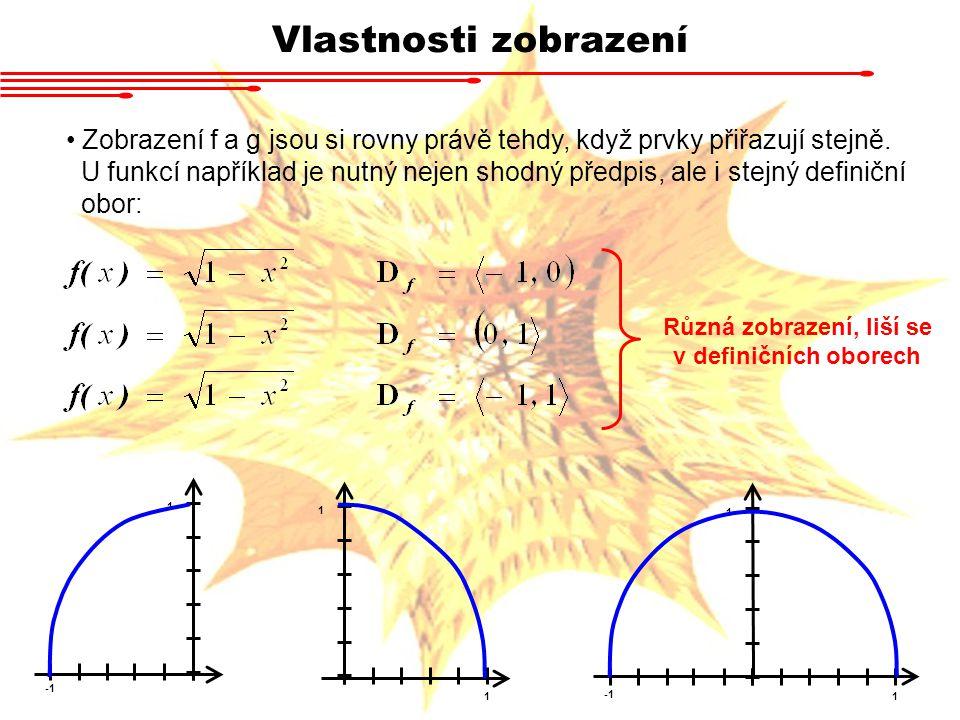 Vlastnosti zobrazení Zobrazení f a g jsou si rovny právě tehdy, když prvky přiřazují stejně. U funkcí například je nutný nejen shodný předpis, ale i s
