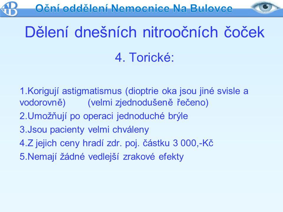 Dělení dnešních nitroočních čoček 4. Torické: 1.Korigují astigmatismus (dioptrie oka jsou jiné svisle a vodorovně) (velmi zjednodušeně řečeno) 2.Umožň