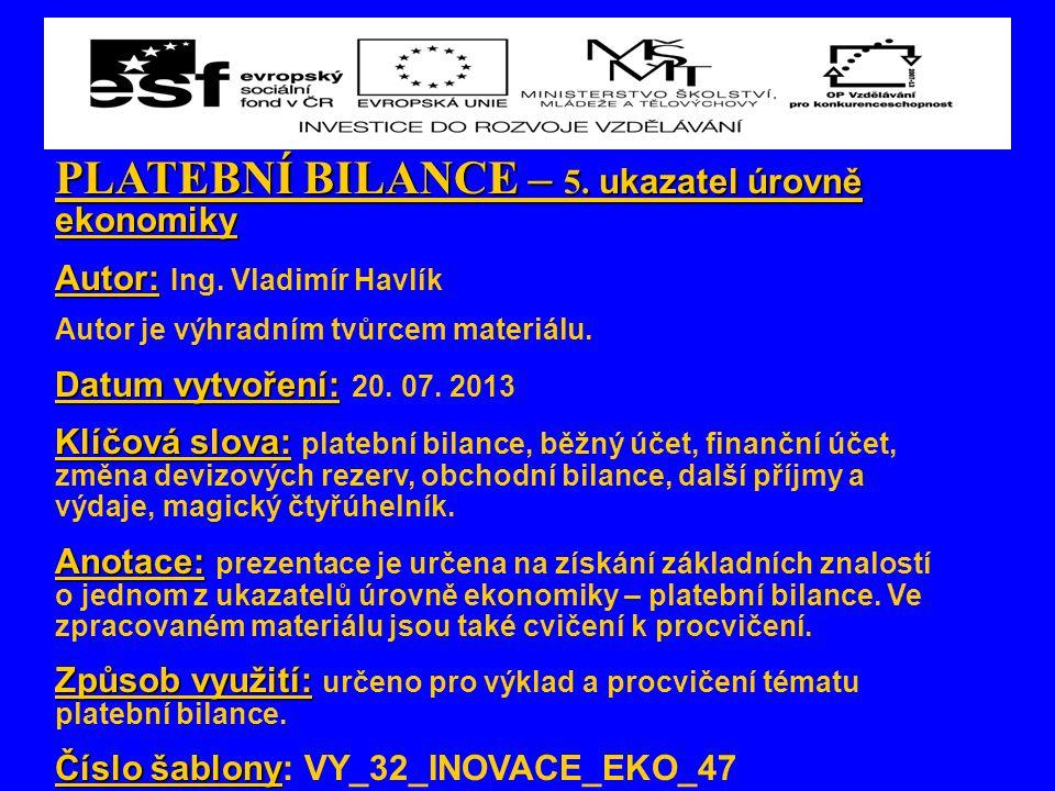 PLATEBNÍ BILANCE – 5. ukazatel úrovně ekonomiky Autor: Autor: Ing. Vladimír Havlík Autor je výhradním tvůrcem materiálu. Datum vytvoření: Datum vytvoř