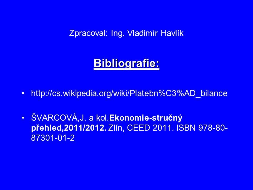 Zpracoval: Ing. Vladimír Havlík Bibliografie: http://cs.wikipedia.org/wiki/Platebn%C3%AD_bilance ŠVARCOVÁ,J. a kol.Ekonomie-stručný přehled,2011/2012.