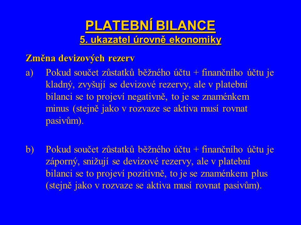 PLATEBNÍ BILANCE 5. ukazatel úrovně ekonomiky Změna devizových rezerv a)Pokud součet zůstatků běžného účtu + finančního účtu je kladný, zvyšují se dev