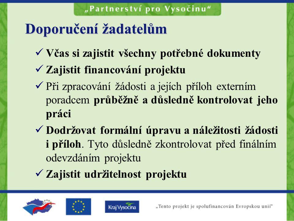 Včas si zajistit všechny potřebné dokumenty Zajistit financování projektu Při zpracování žádosti a jejích příloh externím poradcem průběžně a důsledně