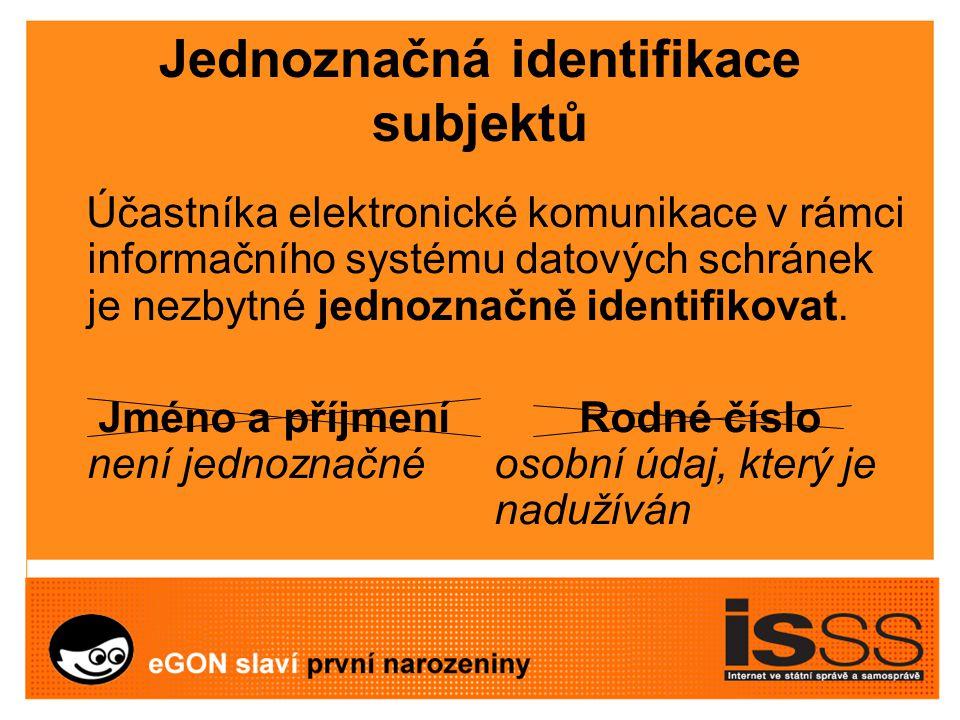 Jednoznačná identifikace subjektů Účastníka elektronické komunikace v rámci informačního systému datových schránek je nezbytné jednoznačně identifikovat.