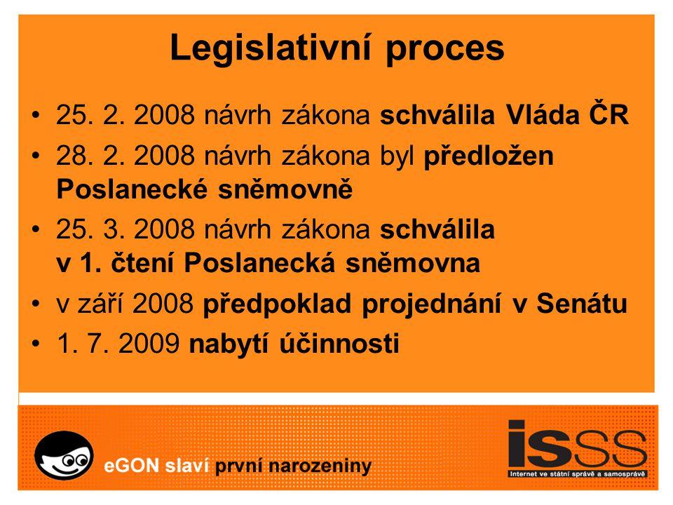 Legislativní proces 25. 2. 2008 návrh zákona schválila Vláda ČR 28.