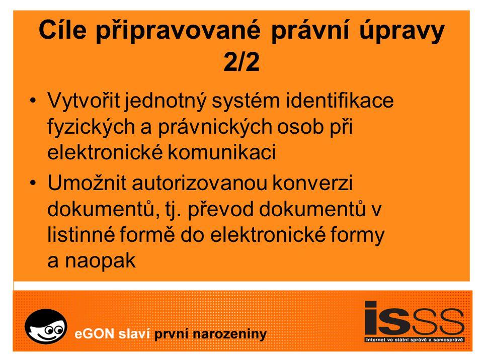 Cíle připravované právní úpravy 2/2 Vytvořit jednotný systém identifikace fyzických a právnických osob při elektronické komunikaci Umožnit autorizovanou konverzi dokumentů, tj.
