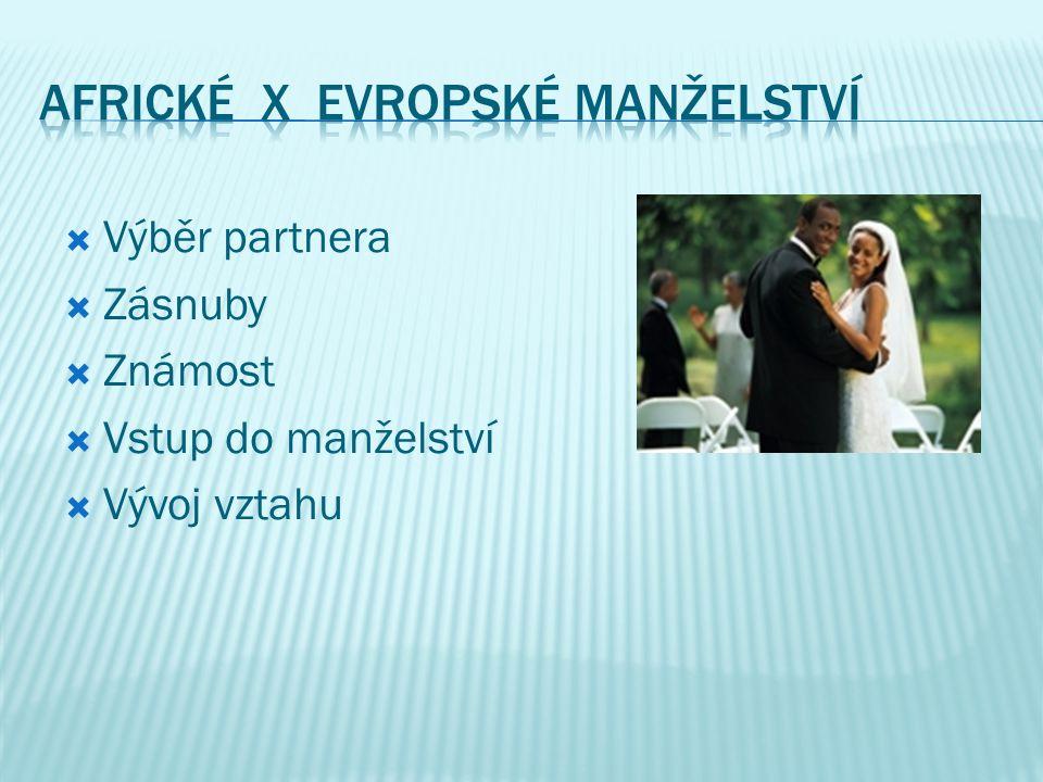  Výběr partnera  Zásnuby  Známost  Vstup do manželství  Vývoj vztahu