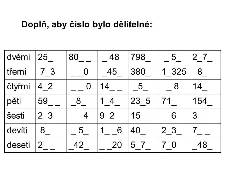 Doplň, aby číslo bylo dělitelné: dvěmi25_80_ _ _ 48798_ _ 5_2_7_ třemi 7_3 _ _0 _45_380_1_325 8_ čtyřmi4_2 _ _ 014_ _ _5_ _ 814_ pěti59_ _ _8_1_4_23_5