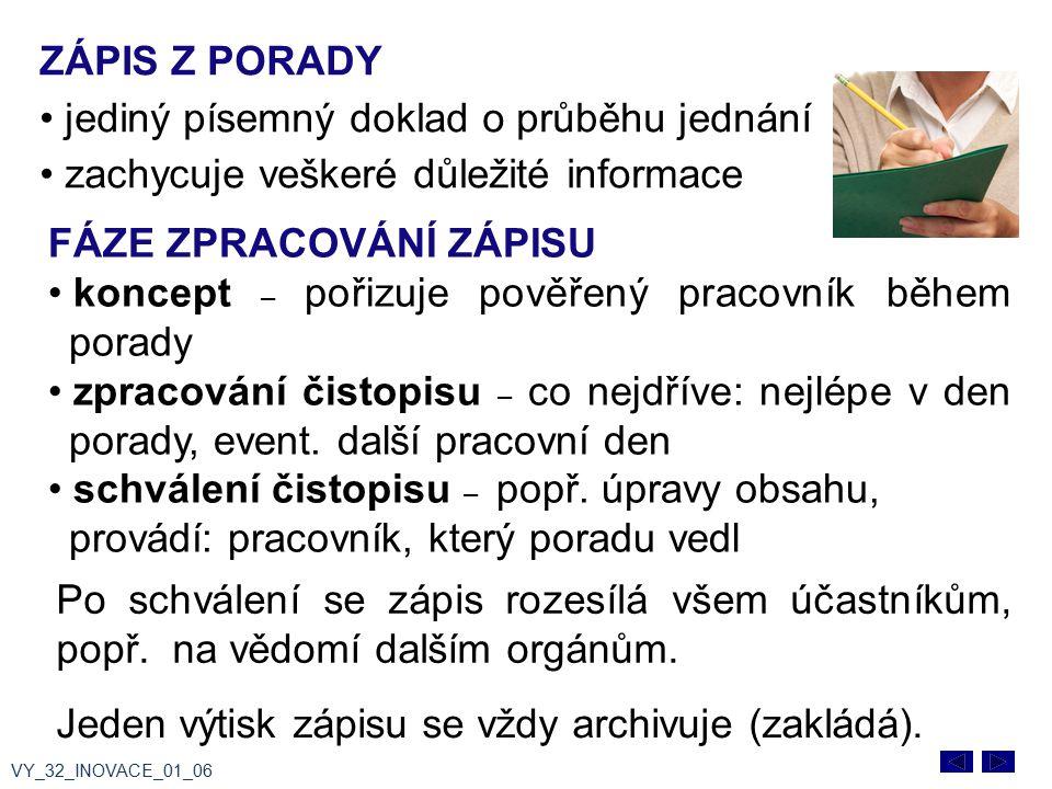 ZÁPIS Z PORADY jediný písemný doklad o průběhu jednání zachycuje veškeré důležité informace VY_32_INOVACE_01_06 Po schválení se zápis rozesílá všem úč