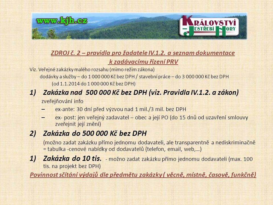ZDROJ č. 2 – pravidla pro žadatele IV.1.2. a seznam dokumentace k zadávacímu řízení PRV Viz.