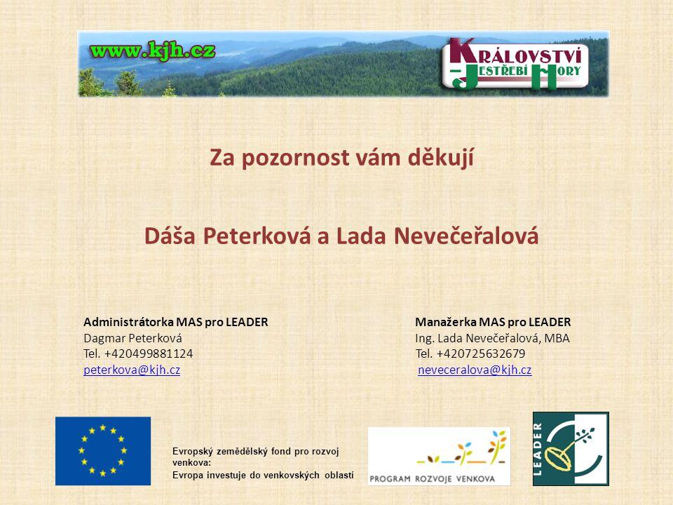 Evropský zemědělský fond pro rozvoj venkova: Evropa investuje do venkovských oblastí Za pozornost vám děkují Dáša Peterková a Lada Nevečeřalová Administrátorka MAS pro LEADER Manažerka MAS pro LEADER Dagmar Peterková Ing.