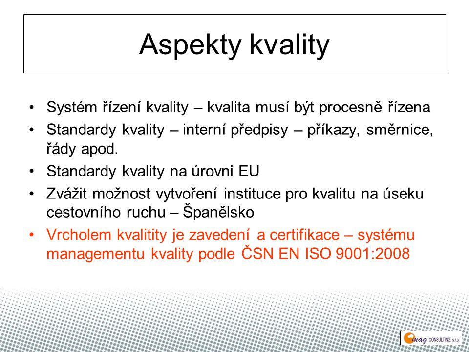 Aspekty kvality Systém řízení kvality – kvalita musí být procesně řízena Standardy kvality – interní předpisy – příkazy, směrnice, řády apod.