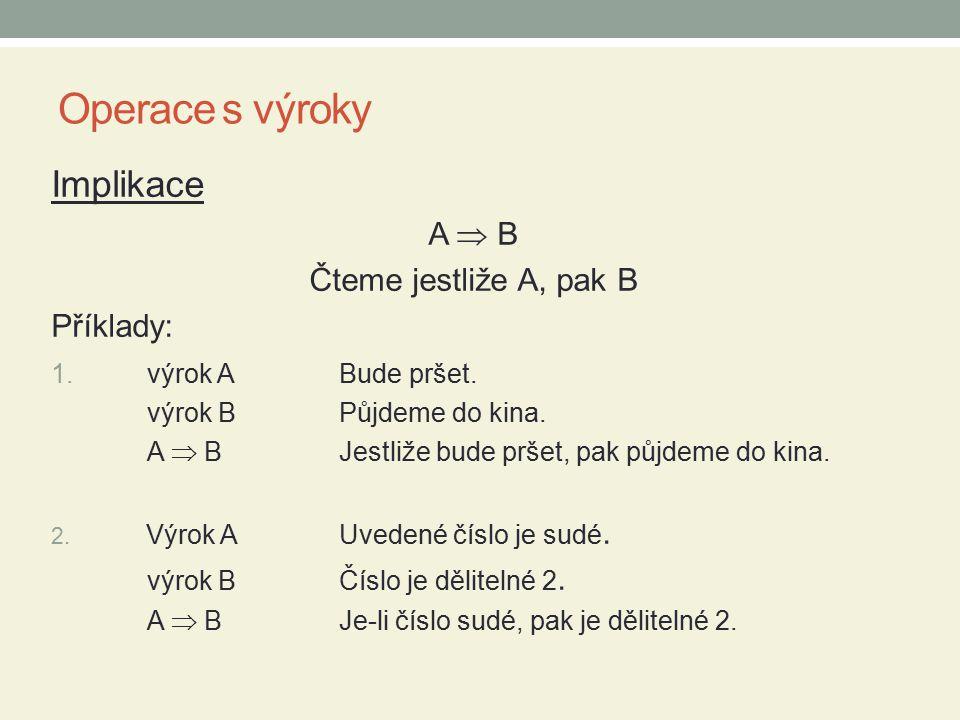 Operace s výroky Ekvivalence A  B Čteme právě když A, pak B Příklady: 1.