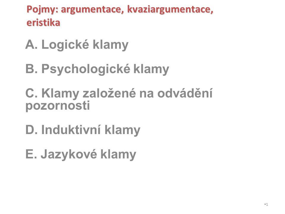 A. Logické klamy B. Psychologické klamy C. Klamy založené na odvádění pozornosti D. Induktivní klamy E. Jazykové klamy Pojmy: argumentace, kvaziargume