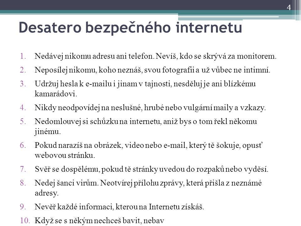 Desatero bezpečného internetu 1.Nedávej nikomu adresu ani telefon. Nevíš, kdo se skrývá za monitorem. 2.Neposílej nikomu, koho neznáš, svou fotografii