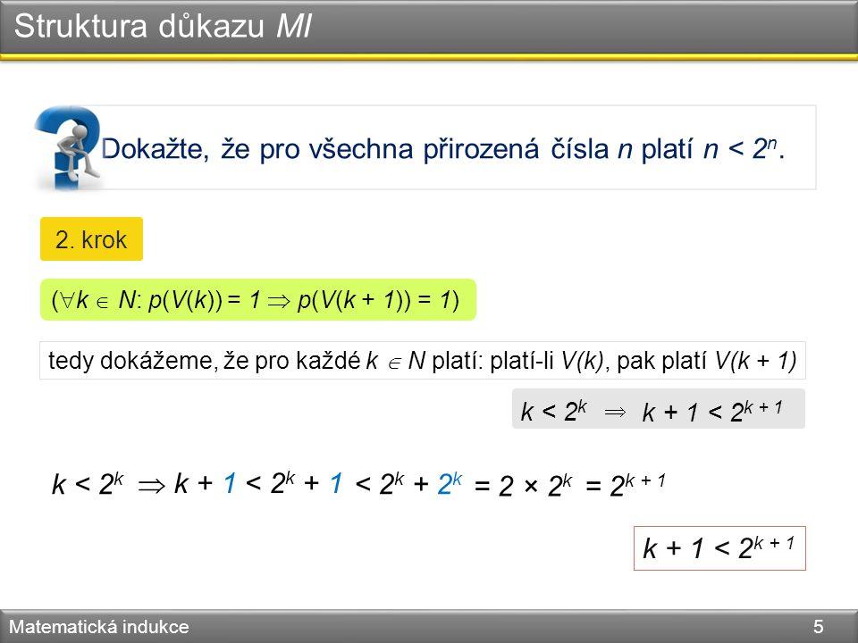 Dokažte, že pro všechna přirozená čísla n platí n < 2 n. Struktura důkazu MI Matematická indukce 5 2. krok tedy dokážeme, že pro každé k  N platí: pl