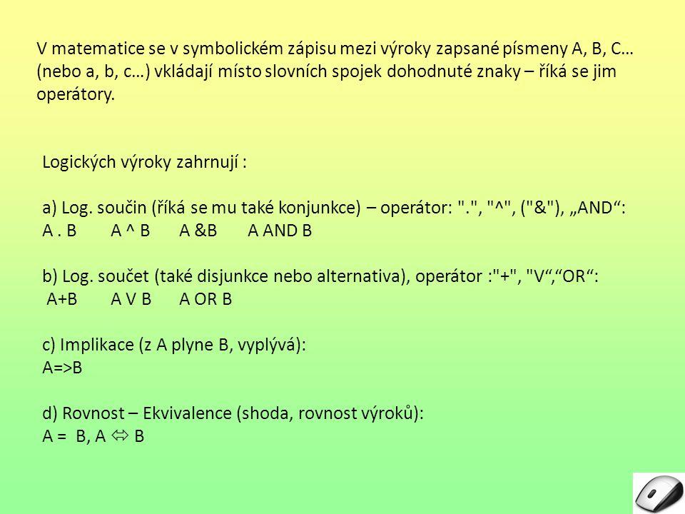 V matematice se v symbolickém zápisu mezi výroky zapsané písmeny A, B, C… (nebo a, b, c…) vkládají místo slovních spojek dohodnuté znaky – říká se jim operátory.