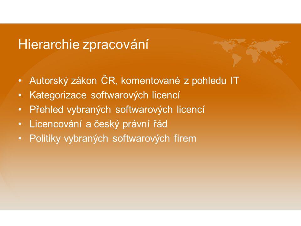 Hierarchie zpracování Autorský zákon ČR, komentované z pohledu IT Kategorizace softwarových licencí Přehled vybraných softwarových licencí Licencování a český právní řád Politiky vybraných softwarových firem