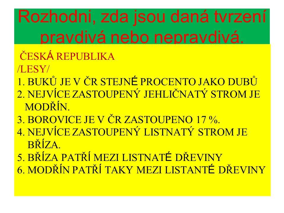 Rozhodni, zda jsou daná tvrzení pravdivá nebo nepravdivá. ČESK Á REPUBLIKA /LESY/ 1. BUKŮ JE V ČR STEJN É PROCENTO JAKO DUBŮ 2. NEJV Í CE ZASTOUPENÝ J