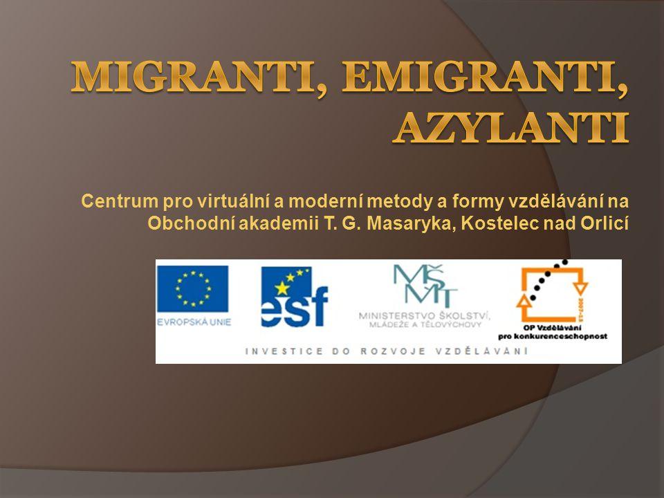 Migrace  = přesídlování, stěhování  vnitřní – uvnitř státu – za prací, kvůli bytové situaci, znečištěnému životnímu prostředí  vnější – za hranice státu: 1) emigrace = dobrovolné nebo vynucené (exil) vystěhování – z důvodů politických, ekonomických nebo náboženských 2) imigrace = přistěhování