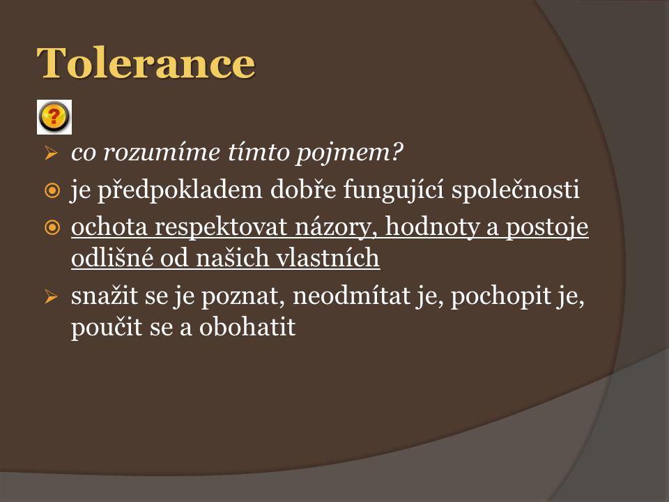 Tolerance  co rozumíme tímto pojmem.