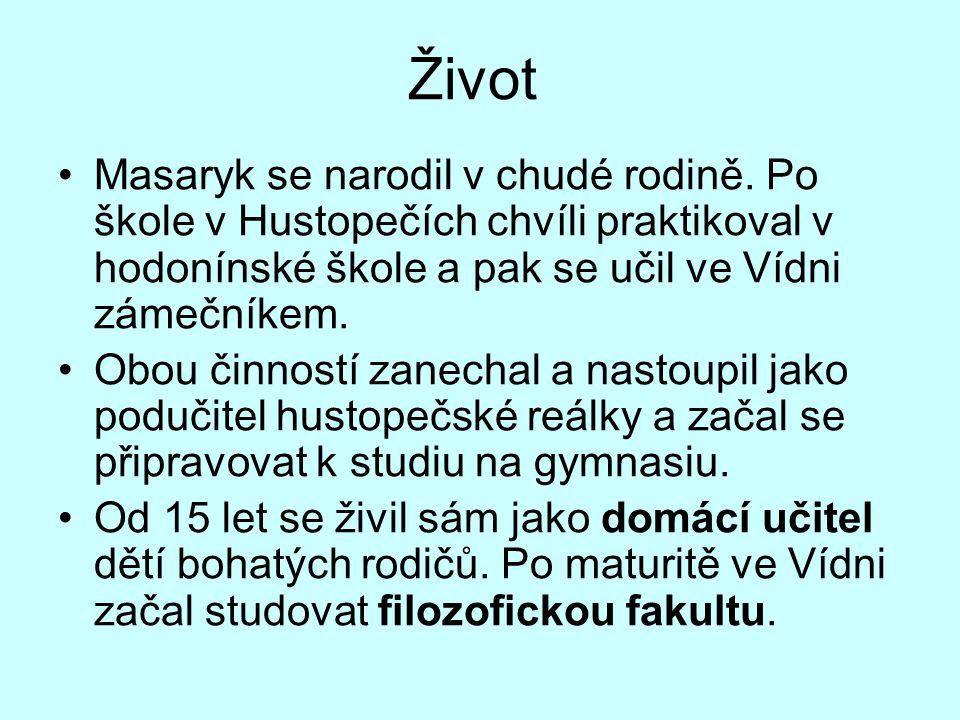 Život Masaryk se narodil v chudé rodině. Po škole v Hustopečích chvíli praktikoval v hodonínské škole a pak se učil ve Vídni zámečníkem. Obou činností