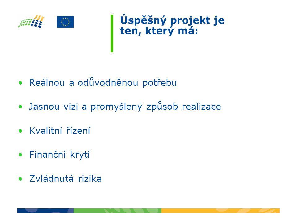 Úspěšný projekt je ten, který má: Reálnou a odůvodněnou potřebu Jasnou vizi a promyšlený způsob realizace Kvalitní řízení Finanční krytí Zvládnutá riz