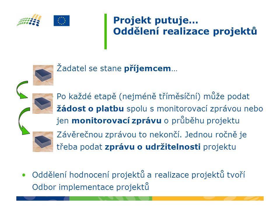 Projekt putuje… Oddělení realizace projektů Žadatel se stane příjemcem… Po každé etapě (nejméně tříměsíční) může podat žádost o platbu spolu s monitor