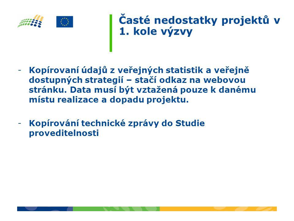 Časté nedostatky projektů v 1. kole výzvy -Kopírovaní údajů z veřejných statistik a veřejně dostupných strategií – stačí odkaz na webovou stránku. Dat