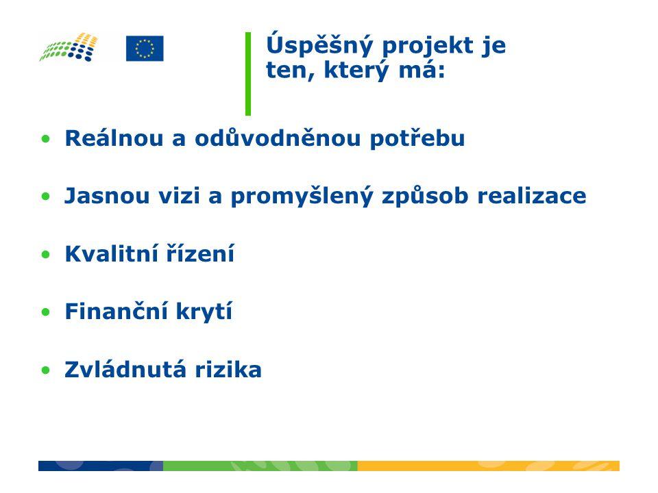 Úspěšný projekt je ten, který má: Reálnou a odůvodněnou potřebu Jasnou vizi a promyšlený způsob realizace Kvalitní řízení Finanční krytí Zvládnutá rizika