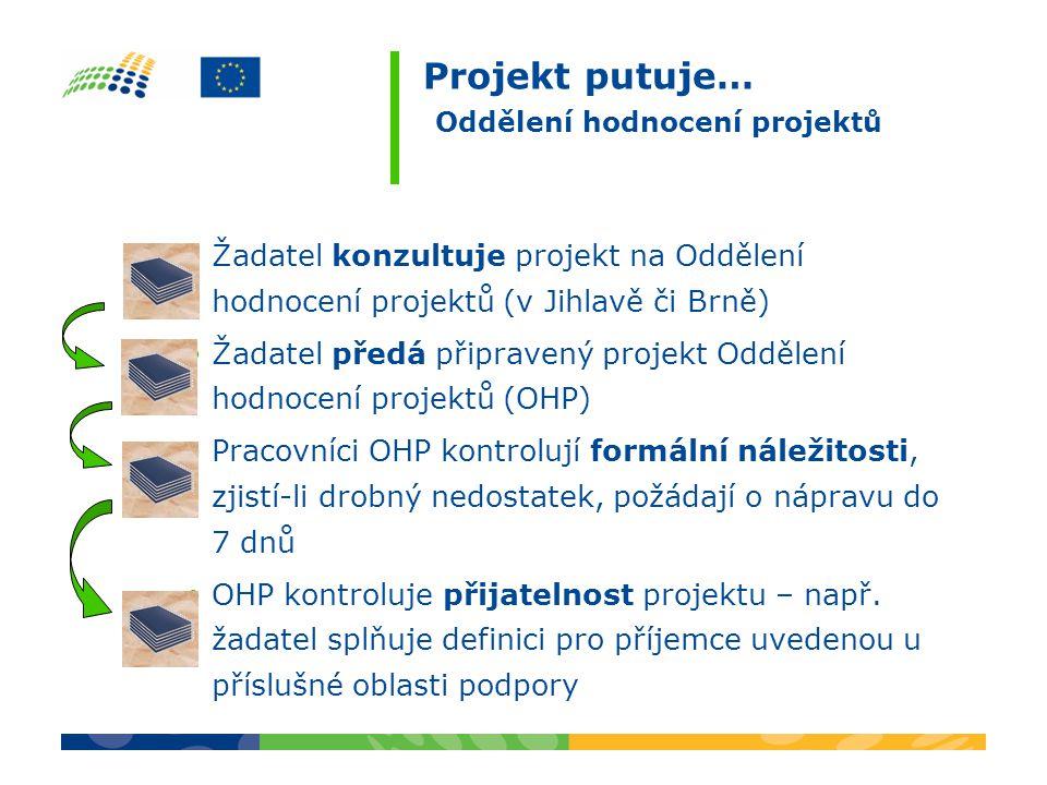 Projekt putuje… Oddělení hodnocení projektů Žadatel konzultuje projekt na Oddělení hodnocení projektů (v Jihlavě či Brně) Žadatel předá připravený projekt Oddělení hodnocení projektů (OHP) Pracovníci OHP kontrolují formální náležitosti, zjistí-li drobný nedostatek, požádají o nápravu do 7 dnů OHP kontroluje přijatelnost projektu – např.