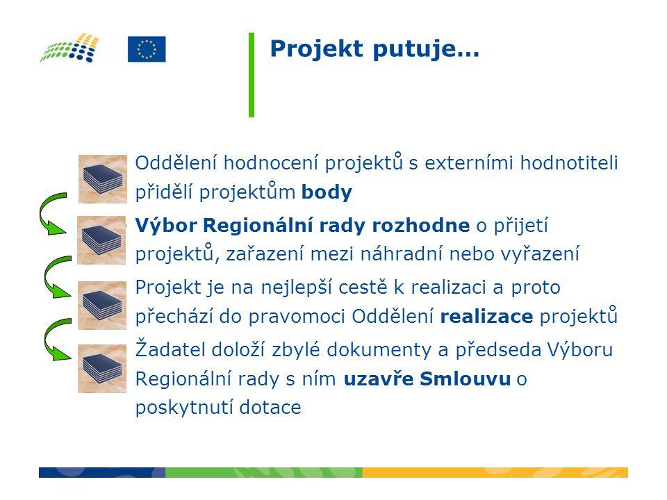 Projekt putuje… Oddělení hodnocení projektů s externími hodnotiteli přidělí projektům body Výbor Regionální rady rozhodne o přijetí projektů, zařazení
