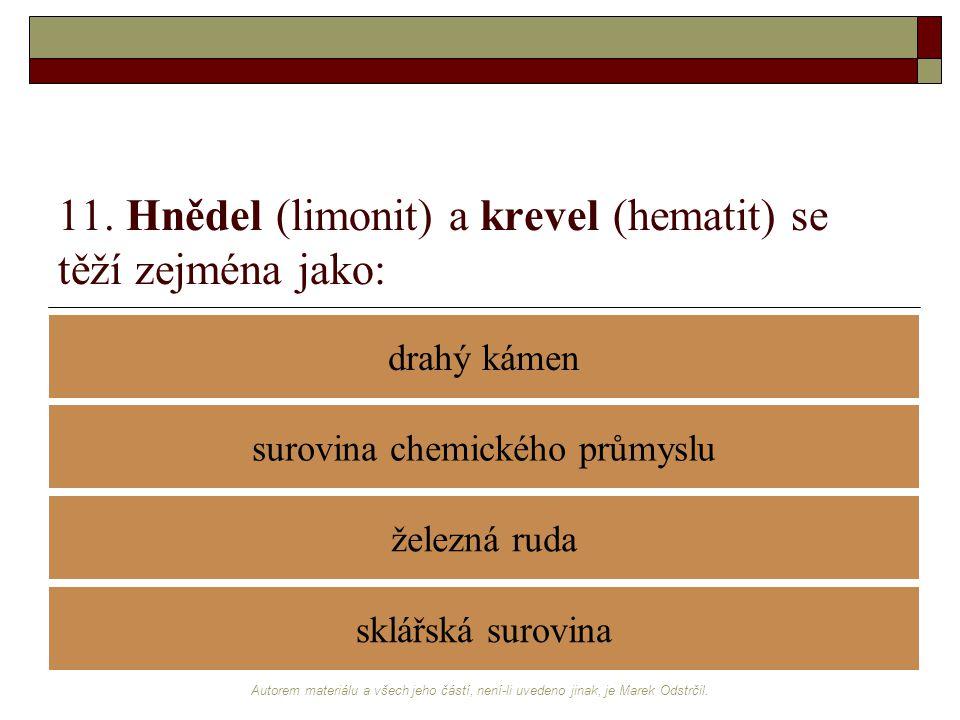 Autorem materiálu a všech jeho částí, není-li uvedeno jinak, je Marek Odstrčil. 11. Hnědel (limonit) a krevel (hematit) se těží zejména jako: drahý ká