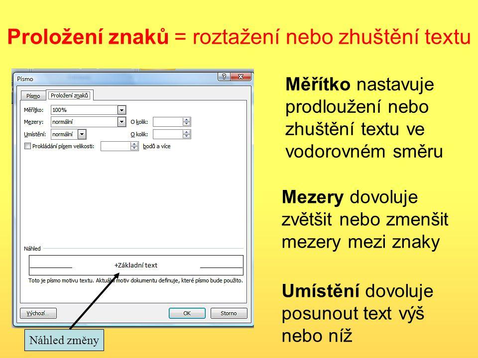 Proložení znaků = roztažení nebo zhuštění textu Měřítko nastavuje prodloužení nebo zhuštění textu ve vodorovném směru Mezery dovoluje zvětšit nebo zmenšit mezery mezi znaky Umístění dovoluje posunout text výš nebo níž Náhled změny