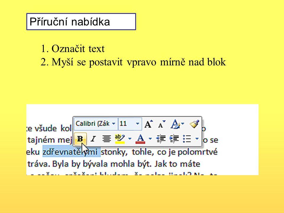 Příruční nabídka 1. Označit text 2. Myší se postavit vpravo mírně nad blok