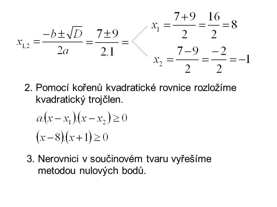 2. Pomocí kořenů kvadratické rovnice rozložíme kvadratický trojčlen.