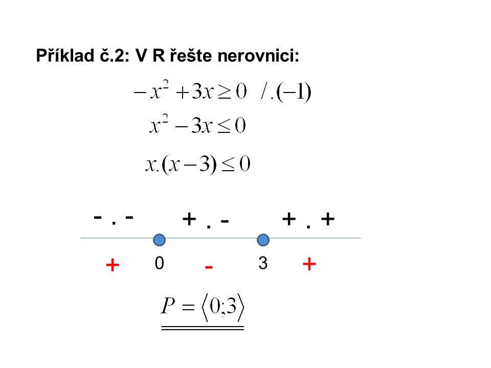 Příklad č.2: V R řešte nerovnici: 03 -. - +. -+. + +- +