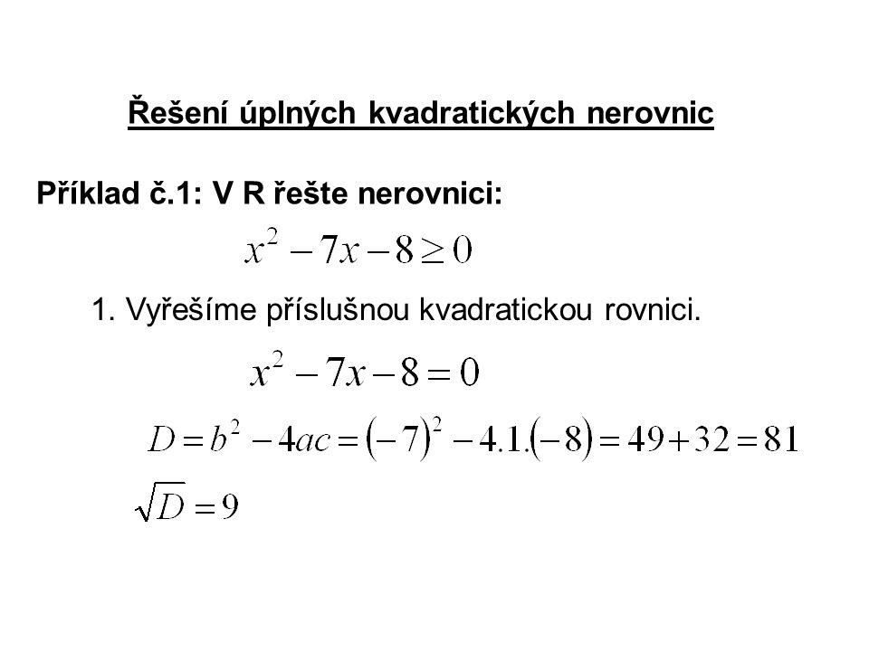 Řešení úplných kvadratických nerovnic Příklad č.1: V R řešte nerovnici: 1.